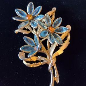 Gorgeous Aqua Glass Daisy Brooch